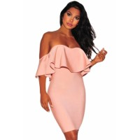Solid Black Ruffle Off Shoulder Bandage Dress Pink