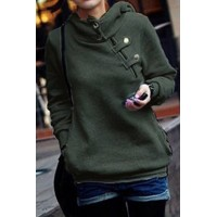 Solid Color Long Sleeve Pockets Design Loose Hoodie For Women green gray