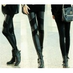 Straight Leg PU Leather Splicing Slimming Simple Design Solid Color Leggings For Women black
