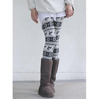 Stylish Elastic Waist Fawn Pattern Bodycon Slimming Stretchy Leggings For Women
