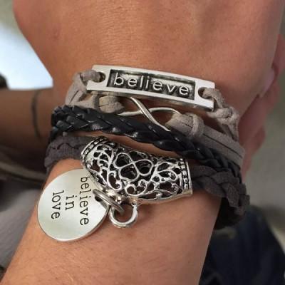 Stylish Flower Pattern Weaved Layered Letter Openwork Friendship Bracelet For Women