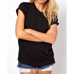 Stylish Hollow Out Back Round Collar Short Sleeve T-Shirt For Women black white