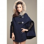 Stylish Hooded Imitation Fur Embellished Doman Design Solid Color Cloak For Women blue camel