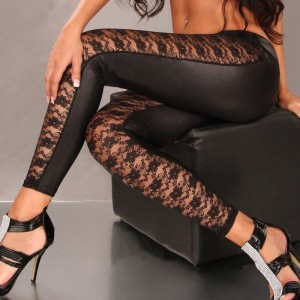 Stylish Lace Splicing Narrow Feet Fitted Faux Leather Leggings For Women black