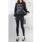 Stylish Round Neck Long Sleeve Letter Print Sweatshirt + Bodycon Culotte Twinset For Women black gray