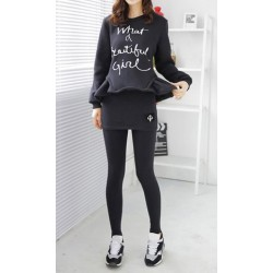 Stylish Round Neck Long Sleeve Letter Print Sweatshirt + Bodycon Culotte Twinset For Women black gray