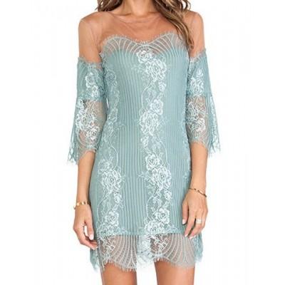 Stylish Women's Jewel Neck Mesh Splicing 3/4 Sleeve Lace Dress