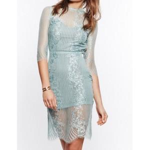 Stylish Women's Round Neck 3/4 Sleeve Backless Lace Dress