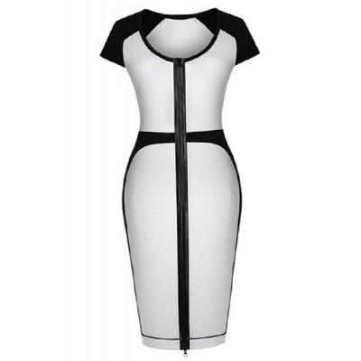 Stylish Women's Scoop Neck Short Sleeve Color Block Dress white