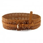 Sweet Openwork Floral Pattern Waist Belt For Women camel black red