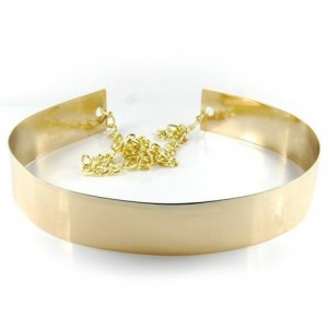 Sweet Simply Designed Solid Color Metal Waist Belt For Women gold silver