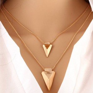 Triangle Pendant V Shape Layered Necklace