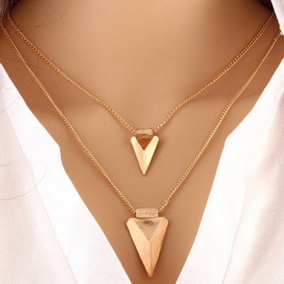 Triangle Pendant V Shape Layered Necklace