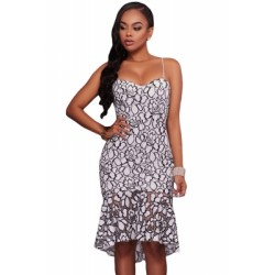White Black Embroidery Lace Mermaid Midi Party Dress