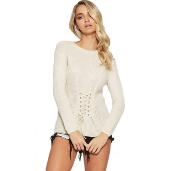 White Corset Knit Sweater Black Red