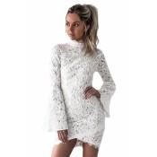 White Crochet Lace Shell Bell Sleeve Dress