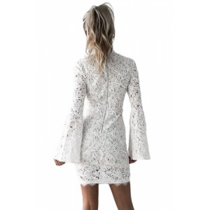 White Crochet Lace Shell Bell Sleeve Dress