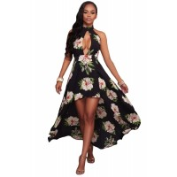 White Floral Print High-low Halter Maxi Boho Dress Black