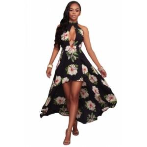 White Floral Print High-low Halter Maxi Boho Dress Black
