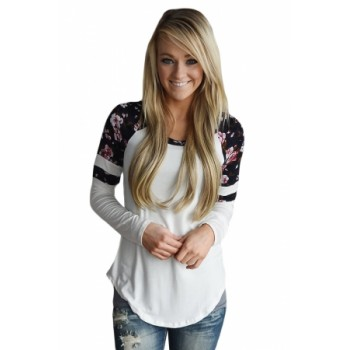 White Floral Varsity Stripe Long Sleeve Top Black