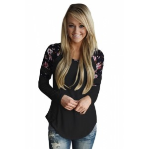 White Floral Varsity Stripe Long Sleeve Top Black