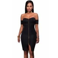 White Off Shoulder Front Zip and Slit Dress Black