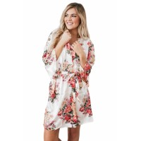 White Silky Floral Bath Robe Black