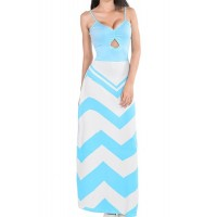 Women's Sexy Spaghetti Strap Sleeveless Backless Stripe Geometric Patterns Print Blue Floor Length Dress blue white