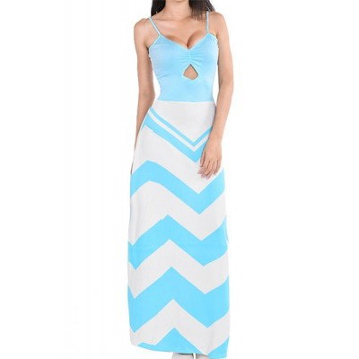 Women's Sexy Spaghetti Strap Sleeveless Backless Stripe Geometric Patterns Print Blue Floor Length Dress blue white