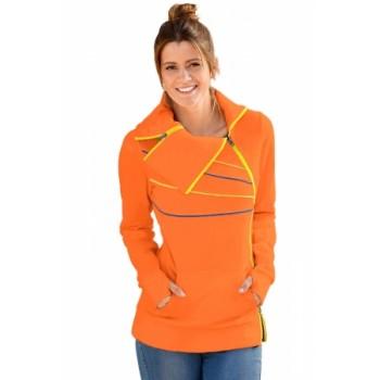 Zip and Piping Trim Orange Sweatshirt Orange Grey Navy Black White