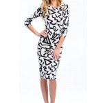 3/4 Sleeve Round Collar Abstract Print Ankle-Length Sexy Dress For Women