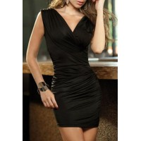 Alluring V-Neck Ruffled Sleeveless Bodycon Dress For Women