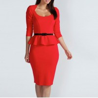 Belt Beam Waist Packet Buttock Flounces Polyester Solid Color Sexy Peplum Dress For Women