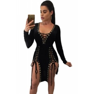 Black Lace Up Grommet Double Slits Long Sleeve Club Dress