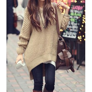 Casual Hooded Long Sleeve Solid Color High-Low Hem Sweater For Women