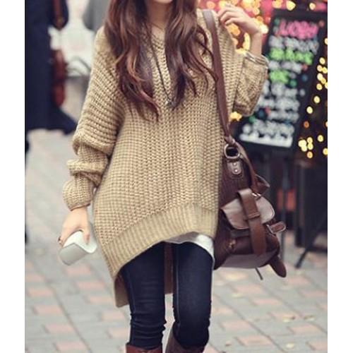 Sweater High Low Hem Color High-low Hem Sweater