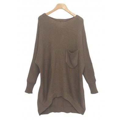 Casual Scoop Neck High-Low Hem Batwing Long Sleeve Sweater For Women
