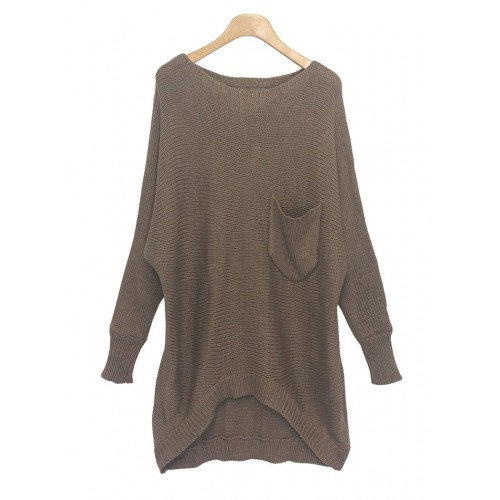 Sweater High Low Hem Casual Scoop Neck High-low Hem