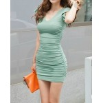Casual Solid Color V-Neck Sleeveless Bodycon Dress For Women