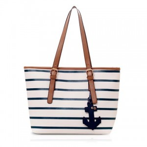 Casual Women's Shoulder Bag With Stripe and Pendant Design