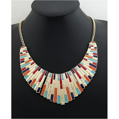 Characteristic Stylish Multicolor Alloy Fan-Shaped Women's Pendant Necklace