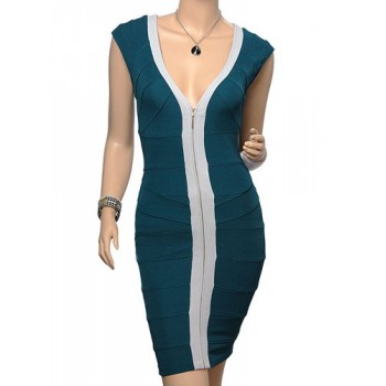 Color Block Casual V-Neck Zipper Design Packet Buttock Bandage Dress For Women