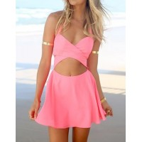 Cut Out Backless Sleeveless Halter Solid Color Sexy Style Dress For Women