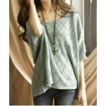 Cute Women's Scoop Neck Batwing Sleeve Loose-Fitting Sweater
