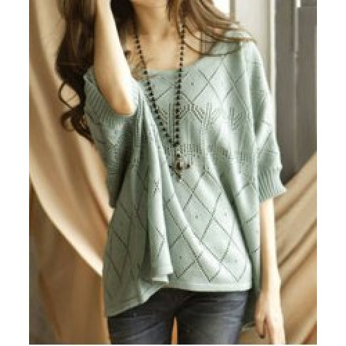 Cute Women s Scoop Neck Batwing Sleeve Loose-Fitting Sweater (Cute ...