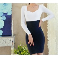 Elegant Sweetheart Neckline Color Block Long Sleeve Women's Dress