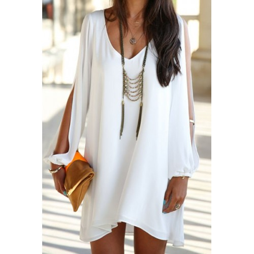 Free shipping Sexy V Neck Long Sleeve Backless Chiffon Women's White Dress WHITE M under $ in Chiffon Dresses online store. Best Asymmetrical Skirt Online and .