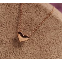 Fashion Sweet Style Heart Shape Pendant Golden Necklace