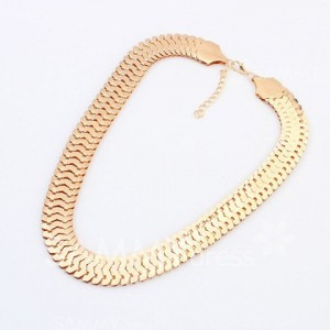 Fashion Wide Alloy Chain Necklace For Women