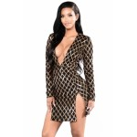 Gold Diamond Sequin Black Double Slit Dress Apricot